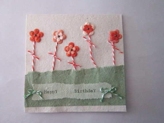 Handmade Birthday Day Card - Handmade Paper Card - 100% Recycled Paper Card - Eco Friendly Card -