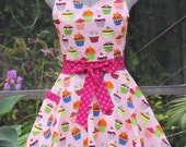 Ready to ship-Sweetheart Hostess Apron-Vintage Cupcakes on Pink with a Twist of Raspberry Ta-Dots-Full of Twirl Flounce-