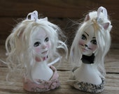 Art Doll Ornament Kitty Bust.  OOAK Decorative Fantasy Sculpt