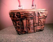 Hand Carved Wooden Box purse TIKI MODERN  Rockabilly vlv