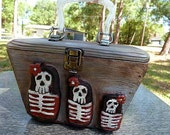 Hand carved Skull RUSSIAN NESTING DOLL Purse Rockabilly goth retro