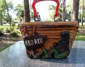 AKU AKU handcarved wooden Box PURSE rockabilly tiki retro vlv