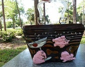 PINK ELEPHANTS cocktail PURSE- rockabilly tiki retro vlv hand carved