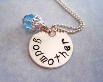 godmother necklace-personalized jewelry-sterling silver-godmother gift-hand stamped pendant-custom necklace-engraved charm-gift for women