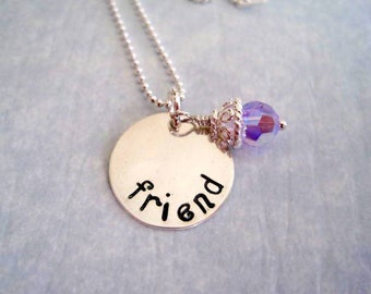 """Hand Stamped  """"Friend"""" Necklace in Sterling Silver pendant-purple crystal  by Marybeadz jewelry"""