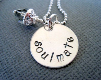 Soulmate necklace-gift for her-girlfriend gift-sterling silver-hand stamped pendant-personalized charm-statement jewelry-engraved necklace