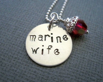 Marine wife necklace-hand stamped pendant-sterling silver jewelry-womans necklace- military jewelry- ruby crystal-stamped necklace-