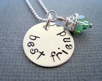 Best friend necklace-friend gift-sterling silver-personalized jewelry-hand stamped pendant-engraved custom charm-gift for women girls-