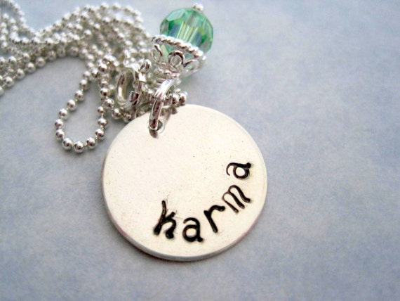 Karma necklace-custom pendant-hand stamped sterling silver-personalized inspirational jewelry-gift for women girls-karma charm-engraved