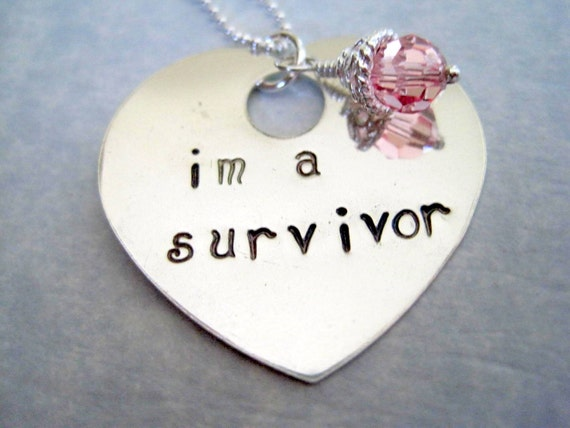 Im a survivor hand stamped womans necklace jewelry personalized crystal heart shaped sterling silver pendant breast cancer pink crystal