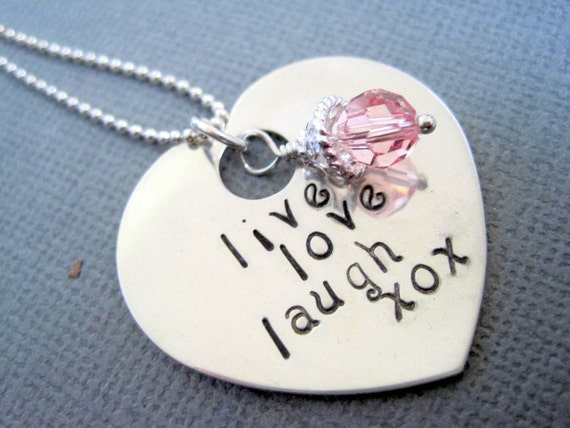 Live Love Laugh Hand Stamped Necklace heart shaped sterling silver personalized pendant womans necklace pink crystal
