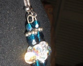 Blue and white crystal ball earrings