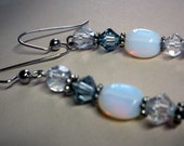 White opalite and crystal earrings