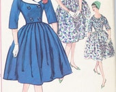 Vintage 1960's  Misses' Dress and Short Jacket  Pattern, Full Skirt, Detachable Collar, Simplicity 3303