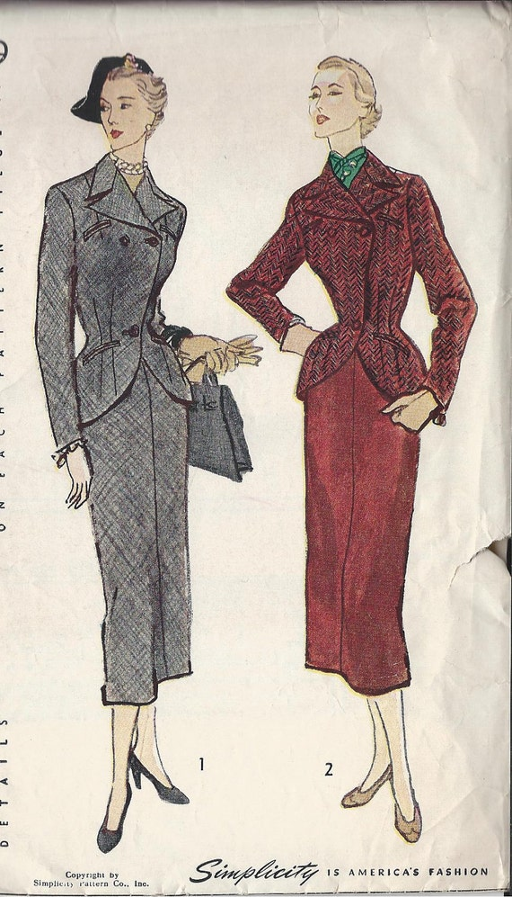 Vintage 1950's  Misses'  Two Piece Suit Sewing  Pattern,  Slim Skirt, Fitted Jacket, Simplicity 2979