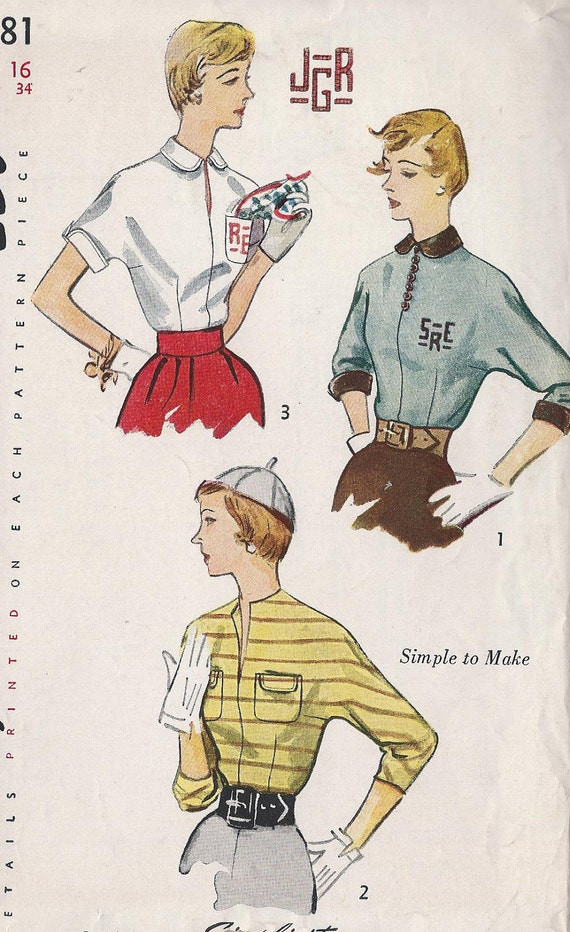 Vintage 1950's  Misses Fitted Blouse  Pattern, Kimono Sleeves, Simplicity 3381