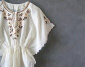 vintage 70s embroidered flutter sleeve blouse