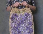 vintage raffia tote purple floral straw bag