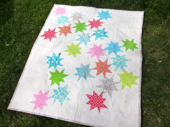 White Wonky Stars Quilt