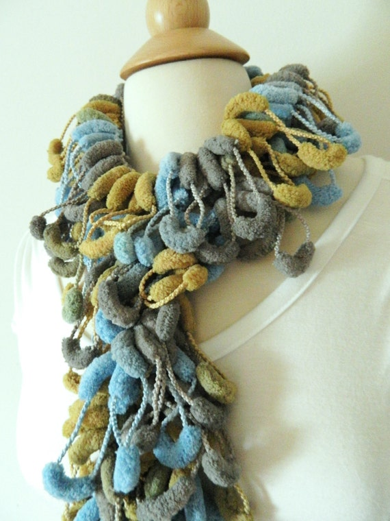 Sale Pompom Scarf - Super Soft Fashion Scarf -  Blue, Khaki, Gray, Olive Green