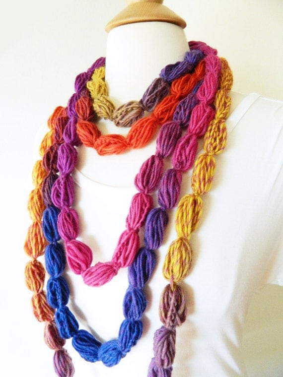 Pompom Scarf Crochet Lariat Necklace Neckwarmer Scarf - Pompom Puff Stitch Lariat - Blue, Yellow, Orangle, Red, Pink, Copper