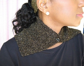 Fashion Collar / Gjitter Party Cowl / Metallic Knit Cowl Collar