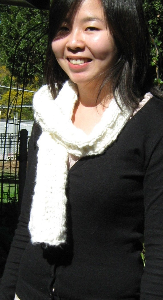 White Hot,Soft and Cozy Chunky Knit Scarf  / Perfect Gift / Handmade Knitted Scarf