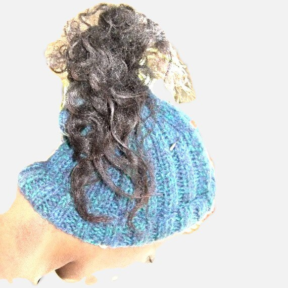 Blue Ponytail  Beanie / Knitted Beanie/ Ponytail Beanie/Gift