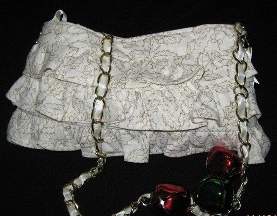 Spring Carnival/Gold and Cream Purse - Ribbon and Chain Handle