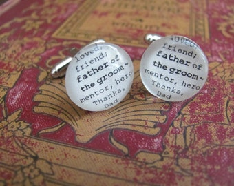 Father of the Groom Cuff Links for Wedding by Kristin Victoria Designs