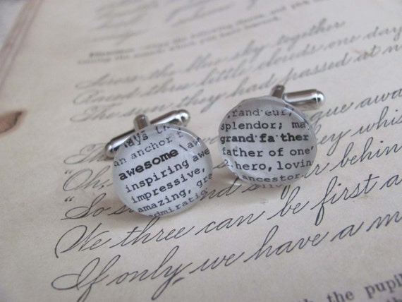 Awesome Grandfather Dictionary Cuff Links for Father's Day, Wedding, Christmas, Birthday Grandparent's Day by Kristin Victoria Designs