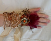 steampunk cuff, textile cuff, burlesque performance cuff, moulin rouge cuff, victorian feather cuff, lace cuff, hand stiched next day shipp