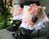 cuffs, spats, ankle cuffs, shoe accessoires, marie antoinette,bohemian, bridal, let them eat cake, roses, shabby chic,bib,romance,victorian