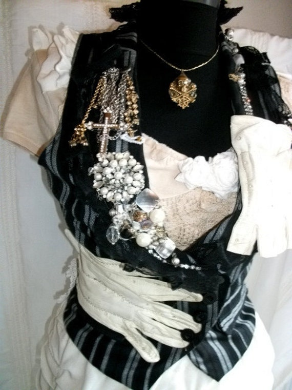 steampunk vest, steampunk, upcycled clothing, upcycled vest, striped vest, shabby chic vest, gothic, victorian, vintage style, size small