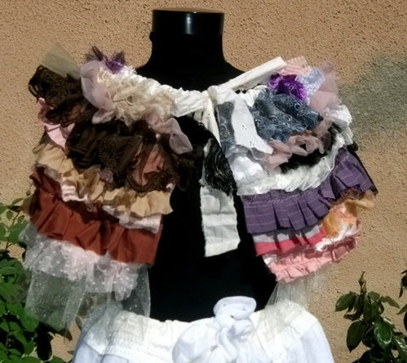 capelet, shawl, shabby chic, capitol fashion, layers and frills, circus, burlesque, spring fashion, lace, colors, marie antoinette,decadence