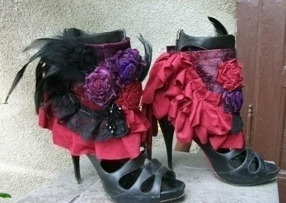cuffs,gothic ,burlesque cuffs, victorian spats, ankle cuffs,vampire, black, noire, feather cuffs, roses, dance, performance, steampunk,
