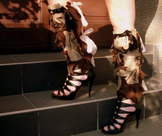 steampunk, leg warmers, gladiator,roman sandals,accessoire tribal, fusion, performance, roman,textured,belly dance,performance, spats,women