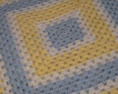 Crochet Granny Square Afghan, Yellow and Blue Baby Blanket
