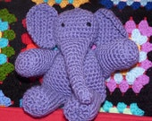 Crochet Elephant, Soft Toy, Plush, Amigurumi, Penny the Purple Elephant