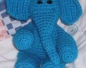 Crochet Elephant, Soft Toy, Plush, Amigurumi, Tommy the Turquoise Elephant