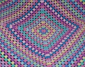 Crochet Granny Square Afghan, Pink and Pastel Colour Burst Baby Blanket