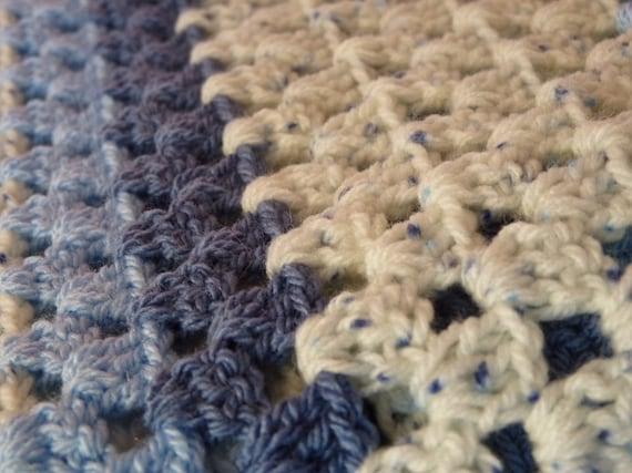Crochet Granny Square Afghan, Denim Snuggles Baby Blanket