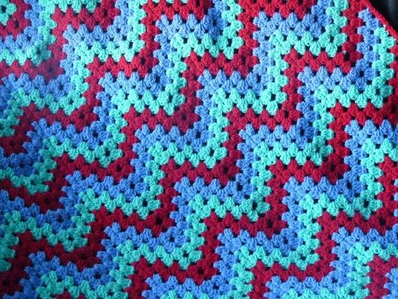 Crochet Afghan Throw Blanket. Ripple Granny Blanket