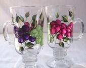 Hand painted pedestal mugs-coffee mugs-grapes