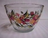 Serving bowl, hand painted serving bowl, large serving bowl, serving bowl with roses, kitchen bowl