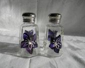 Salt and pepper shakers-painted salt and pepper shakers-purple flowers