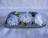 Butter dish, painted butter dish, butter dish with hydrangeas, blue hydrangeas, kitchenware