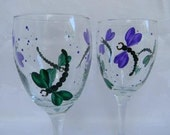 Dragonflies-Hand painted wine glasses-painted Dragonfly's