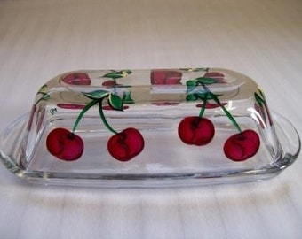 Butter dish-hand painted butter dish-covered butter dish-painted cherries