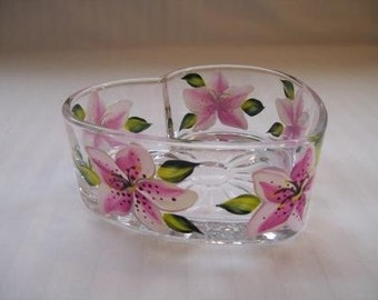 Heart shape dish, candy dish, hand painted dish, painted lilies, pink lilies, serving dish